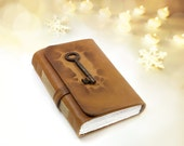 Old Secret - Handmade Brown Leather Journal with Vintage Key - Free Shipping Worldwide