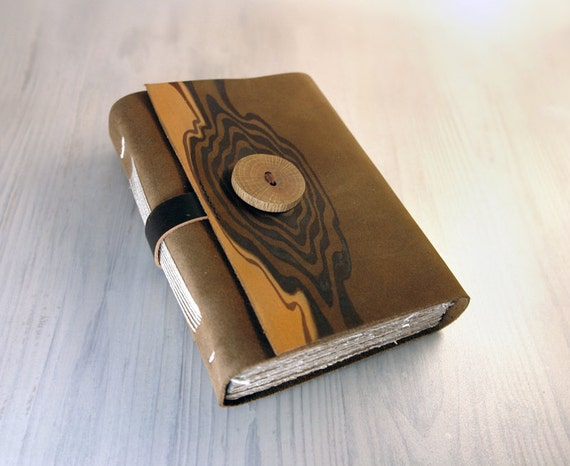 Leather Cover Journal with Handmade Wood Button and Aged Paper - Countryside