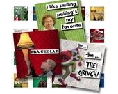 1x1 Digital Collage Sheet Vintage Christmas in the Movies I Quotes Scrabble Tile Images For Jewelry Squares Words Sayings DIY Elf