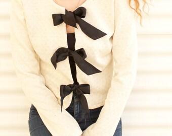 Women Fancy Cotton Off white Jacket,  Black Satin Bows Decorated