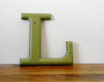 Vintage Letter in Green - You Pick E, I, or L