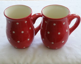 Tall Country Mugs - Red With White Polka Dots - Set of Two - USA Pottery