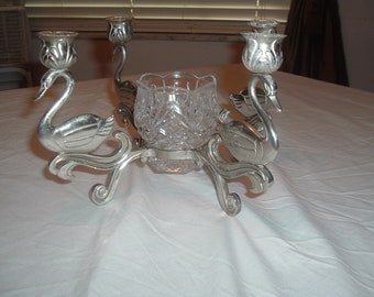 vintage silver plated  swan candle holder