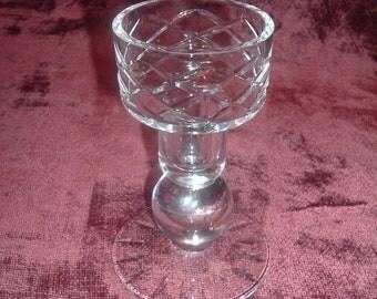 vintage diamond cut crystal candle holder