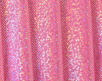 Hot Pink with Silver Holographic Dots  Stretch Lycra Fabric