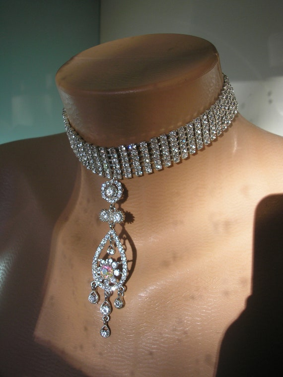 Rhinestone Choker, Backdrop, Vintage Upcycled, Statement Necklace, Bollywood, Sparkly, Bridal Jewelry, Party Necklace, Hollywood, Red Carpet