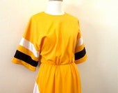 70s Dress / Vintage Colorblock Dress Yellow Bumblebee Cheerleader Stripe - MissMittensVintage