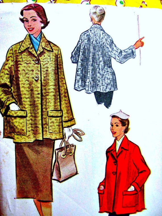 Vintage 50's McCall's Sewing Pattern 9166 - Ladies Topper Coat Jacket - Uncut - Bust 14