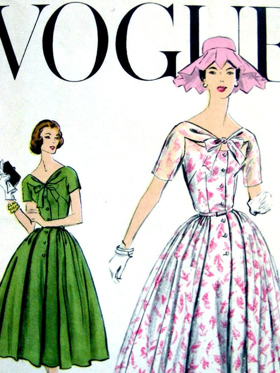 Vintage 50's VOGUE Garden Party Dress Sewing Pattern 9106 - ELEGANT - size 14/34 - Uncut