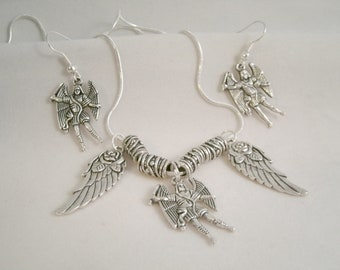 Archangel Miguel (Michael)  Necklace with Earrings