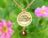 Hebrew Shalom jewelry, Gold necklace, Peace jewelry, Shalom jewelry, Garnet necklace, Coin necklace, Spiritual jewelry, Inspiration