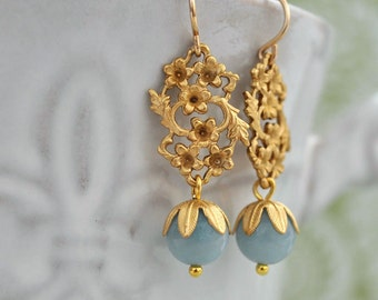 bridesmaid jewelry PETITE FLOWERS gold filled bridal jewelry bridesmaid earrings