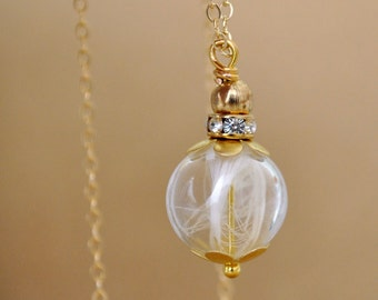 dainty 14k gold filled long necklace ANGELIC glass bubble with white feathers