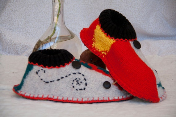 slippers unisex pure wool multicolor upcycled