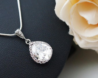 Luxurious Cubic Zirconia Tear drop Necklace Wedding Jewelry Bridal Jewelry Bridal Necklace Bridesmaid necklace Bridesmaid gift groom mother