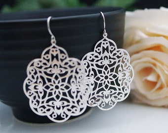 Jewelry Dangle Earrings Matte rodium plated Oriental charm Earrings . For Her. Gift for Her . Gift Under 20