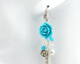 Turquoise Rose and Crystals Earrings
