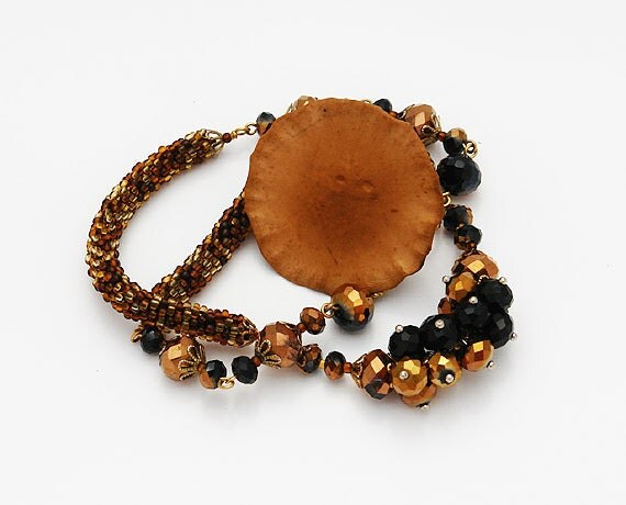"Beaded Crochet Necklace With Czech Beads ""Brown Sugar"""