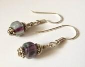Rainbow fluorite earrings Bali silver dangle violet aqua