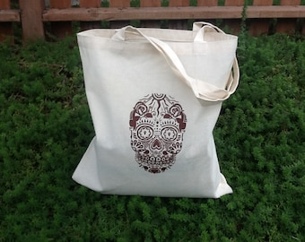 Day of the Dead Skull Print Eco-Friendly Reusable Canvas Tote Bag