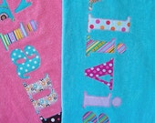 Personalized Towels Appliquéd Name. Graduation Birthday Camp Pool Beach Vacation