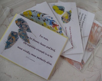 Set of 5 Feather NoteCards with Quotations, Inside Blank, Parrot Feather Note Cards, Gift for Bird Lovers