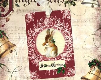 Gift Tags, Merry Christmas, Rabbit Tags, Christmas Tags