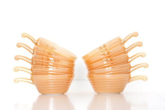 Ten Fire King Peach Lustre Bowls  // Coppertint Orange Bowls // Vintage New