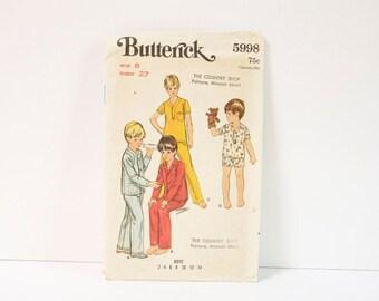 Vintage 1960s Butterick Boys Pajama Pattern 5998 Size 8