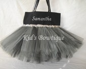 Monogrammed Silver and Black Witch Halloween Tutu Tote Bag