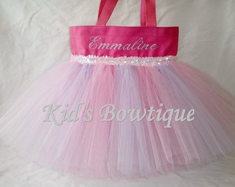 Monogrammed Pink with Lavender Striped Tutu Tote Bag