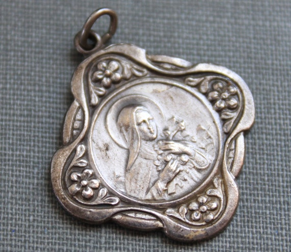 Art Nouveau St. Therese Religious Medal