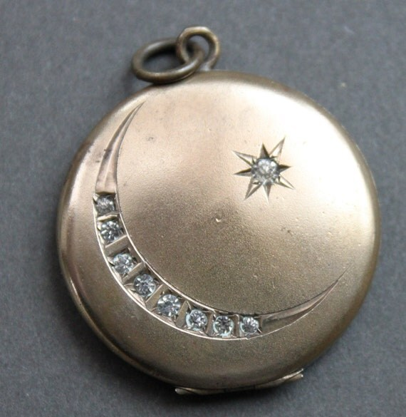 Victorian Paste Crescent Moon and Star Locket