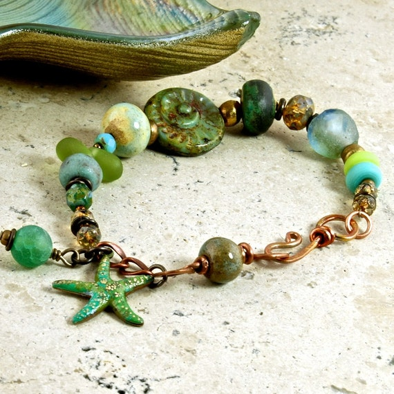 Electric Lime Starfish Patina Brass Beach OOAK Bracelet
