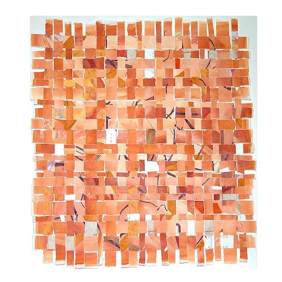 Orange Paper Weaving- Original Watercolor Mixed Media- Contemporary Decor-15x15
