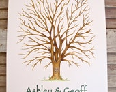Hand Painted X-Large Fingerprint Guest book Tree, custom with 2 colours and pen
