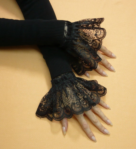 Victorian Under Sleeve Armwarmers, Black Lace Aristocrat Goth Gloves with Ruffle, Wedding, Retro Sleeves, Cosplay