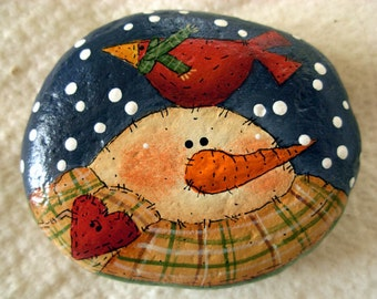 Snowman & Red Cardinal Garden Stone  - Handpainted|Home Decor|Paperweight|Garden
