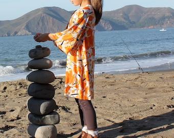 Girls dress silky Kimono style