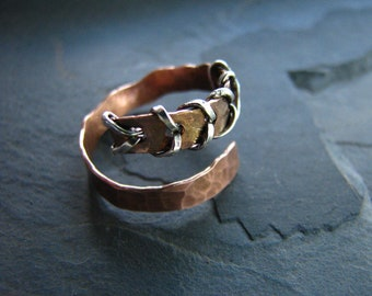 Stichted Up - Copper Forged, Silver, Adjustable Ring
