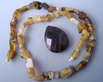 SALE WAS 8.99 Yellow Agate and Sardonyx Pendant Necklace Bead Set