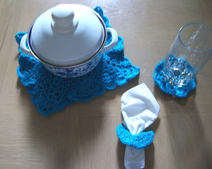 Coaster - Center Piece with Coaster and Napkin Rings in Blue - Home Decorations