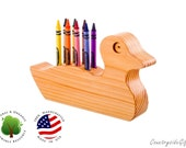 Crayon Holder - Wooden Duck Crayon Holder - Handcrafted Natural and Organic Wood Crayon Holder - Wooden Crayon Duck Holder 8 Crayons