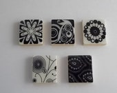 Zentangle Black and White Scrabble Tile  Magnet Set--FREE SHIPPING