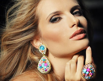 Beautiful handmade high fashion clip on earrings