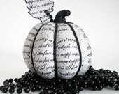 Poe Pumpkin Black and White, decoupage, Halloween, The Raven, macabre, goth, ooak