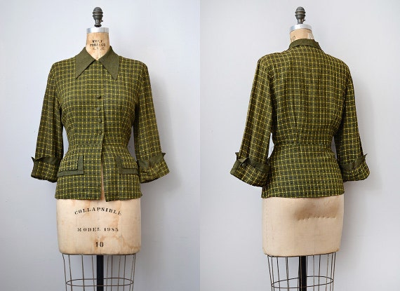 vintage 1940s jacket green with peplum