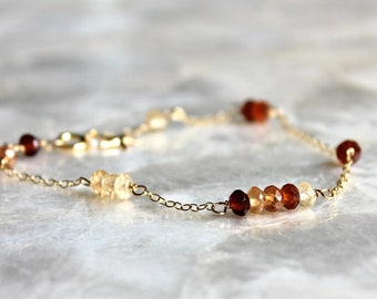 Hessonite Garnet and 14kt Yellow Gold Fill Bracelet - Ready to Ship