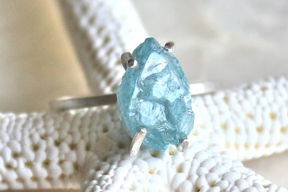 7 Carat Natural Raw Rough Blue Zircon and Sterling Silver Ring - Promise Ring, Wedding Ring,