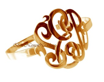 """1 1/2""""  tall Monogram bracelet bangle, 14k Yellow Gold Plated over sterling silver, your monogrammed initials"""